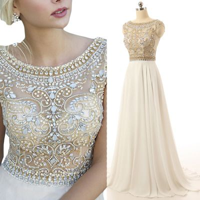 Gorgeous Ivory Prom Dress Cap Sleeve Prom Dresses Beaded Long ...