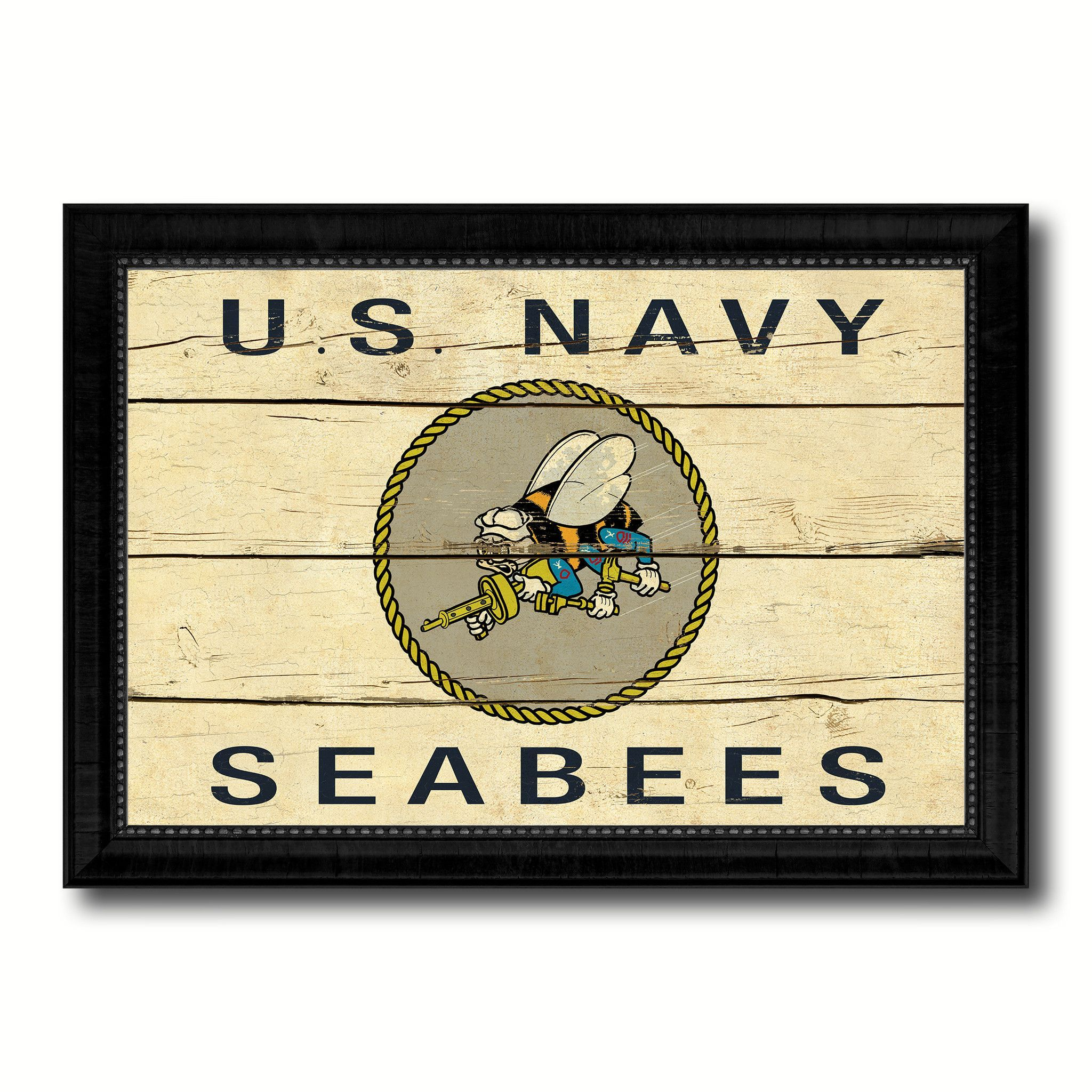 US Navy Seabees Military Flag Vintage Canvas Print with Black ...