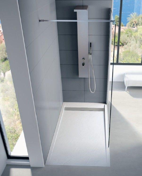 Receveur douche extra-plat blanc Kinesurf Kinestone 2 Parfait pour une grande douche moderne. Disponible en plusieurs tailles sur le site www.batinea.com