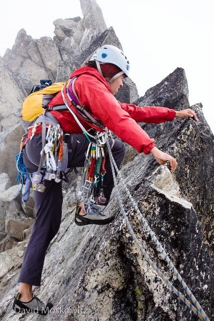 Samantha leading Out on the final pitch on Dorado Needle - North Cascades | David Moskowitz