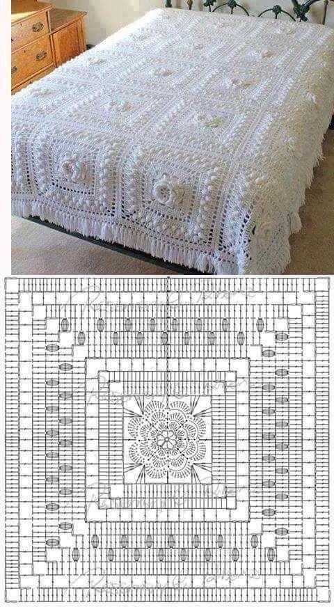 Colcha linda | cabecero de cama | Pinterest | Colchas, Manta y Tejido