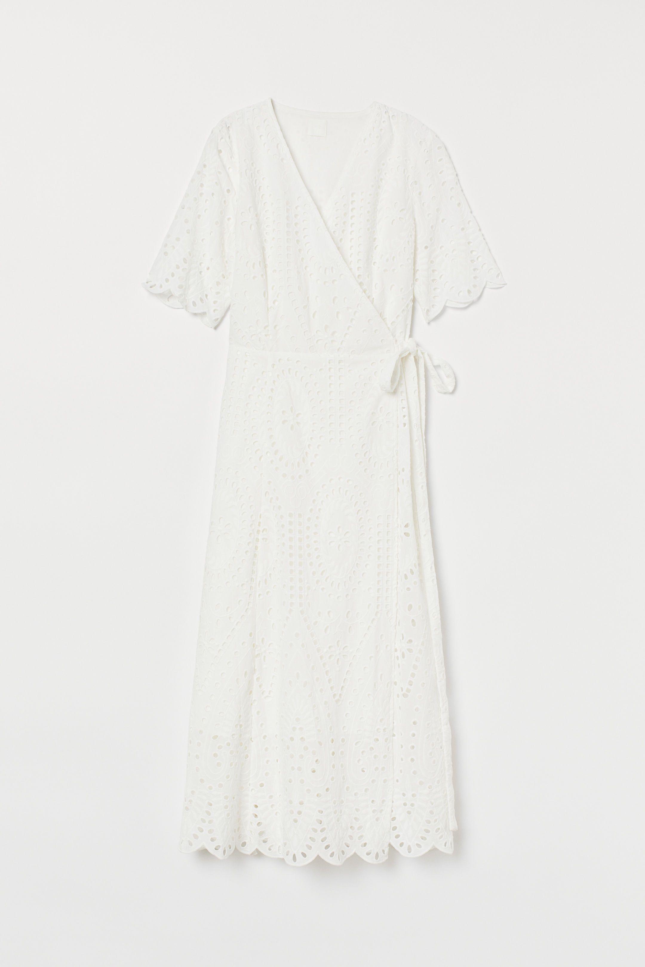 Embroidered Wrap Dress White Ladies H M Dresses Lace White Dress Wrap Dress [ 3240 x 2160 Pixel ]