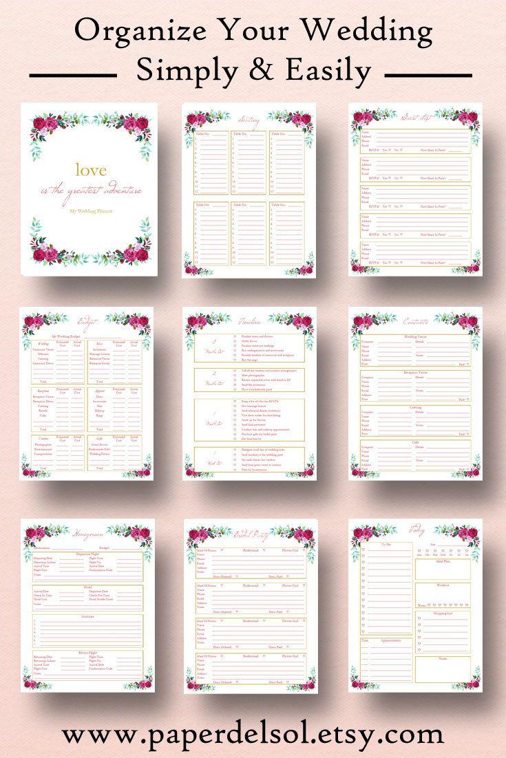 Wedding Planner Printable Wedding Planner Book Binder Etsy Wedding Planning Binder Diy Wedding Binder Wedding Planner Printables