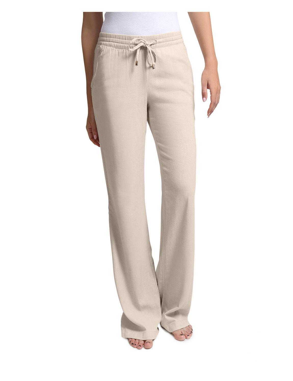 LE3NO Womens Lightweight Loose Fit Linen Pants