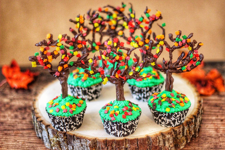 DIY Fall Tree Cupcakes #falltrees