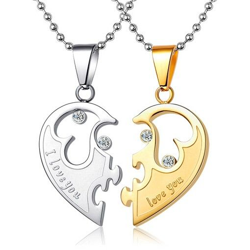 b19fde94f3 Customized Love Name inscribed Half Heart His and Hers Necklaces Set for Two