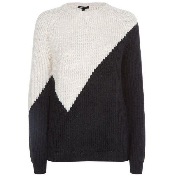 Maje Monument Colour-Block Knitted Jumper (£209) ❤ liked on Polyvore featuring tops, sweaters, block top, graphic tops, color-block sweater, color block tops and graphic sweater