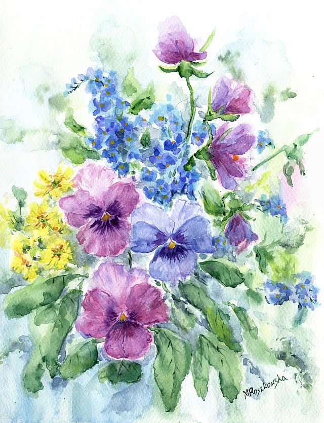 Wiosna Na Rabatce Maria Roszkowska Watercolour Watercolor Paintings Watercolor Background Colorful Art