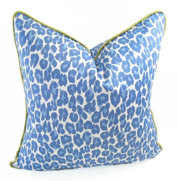 Etsy Blue Leopard Print Pillow Cover Green Silk Welt By