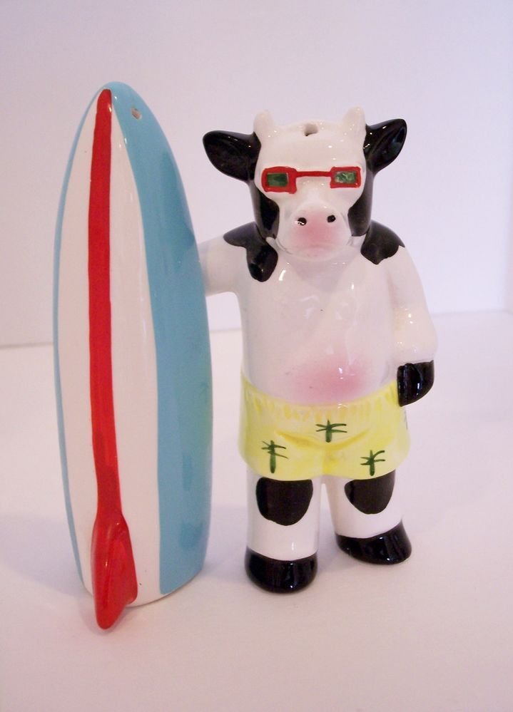 Cow Surfboarder Salt Pepper Shakers