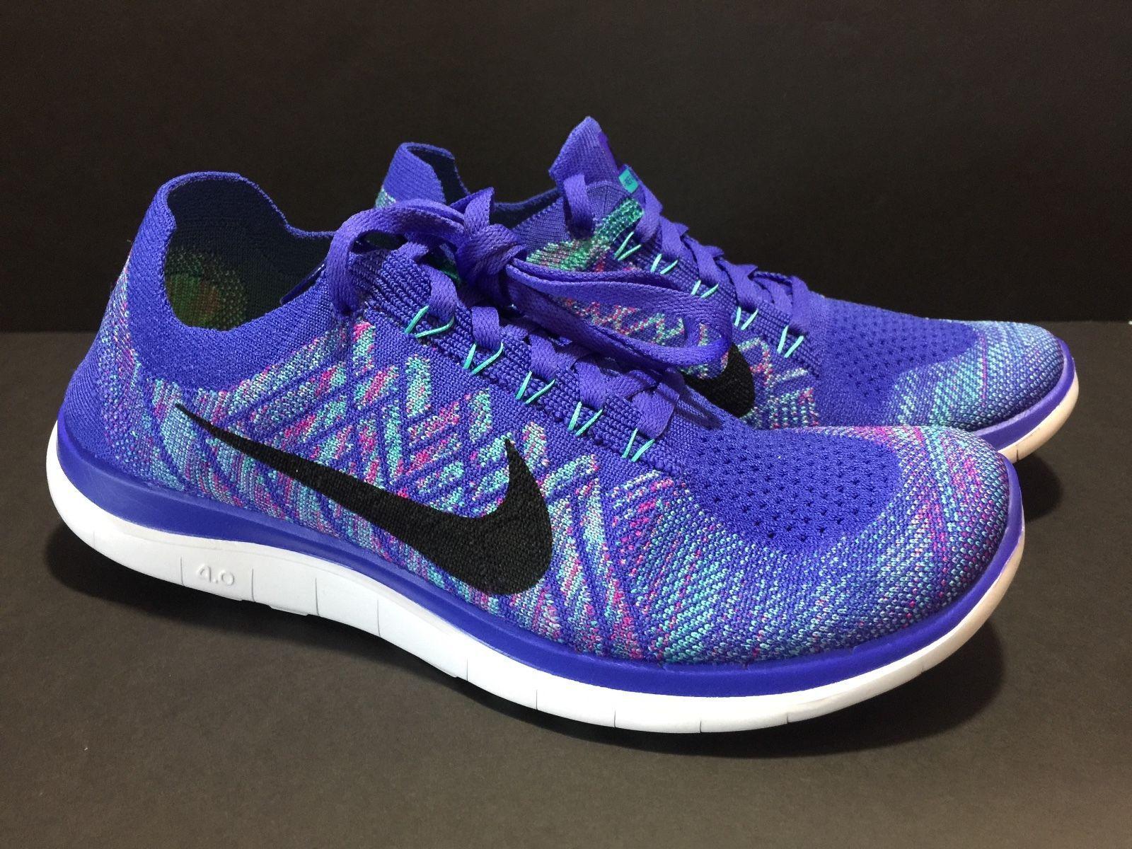 Nike Women's Free 4.0 Flyknit Running Shoes - Purple Blue/Purple K64x9666