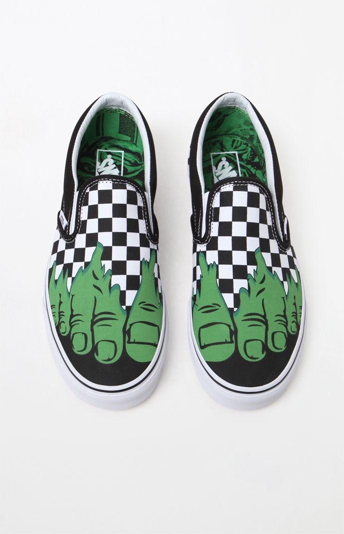 6b21a41456bf99 Vans X Marvel Hulk Checker Classic Slip-On Shoes - Mens 11 ...