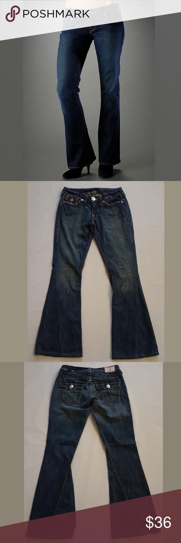 True Religion Joey Big T Flare Wide Leg Jeans True Religion Joey Big T. Size 28. Light distressing. In excellent condition. True Religion Jeans Flare & Wide Leg