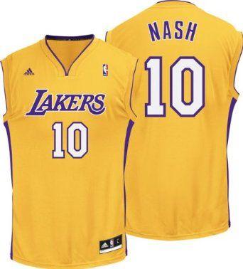 2e3fee8f5 Adidas Los Angeles Lakers Steve Nash  10 Revolution Replica Alternate Gold  Jersey Adult (Mens - Medium)