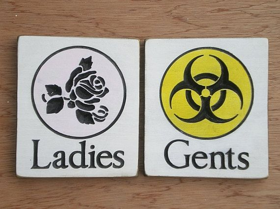 Restroom Signs His And Hers Ladies And Gents By Arkwooduk On Etsy 15 00 Restroom Sign Bathroom Signs Bathroom Signage