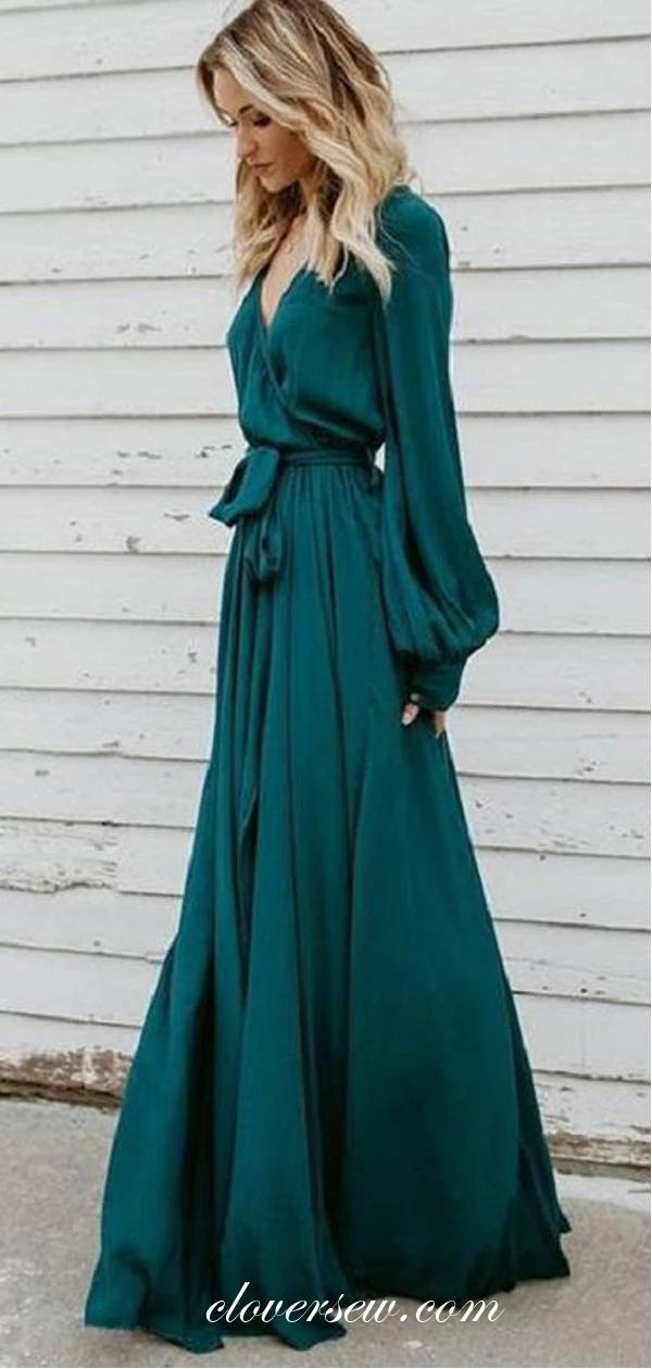V-neck Long Sleeves Teal Chiffon High Slit Prom Dresses,CP0003