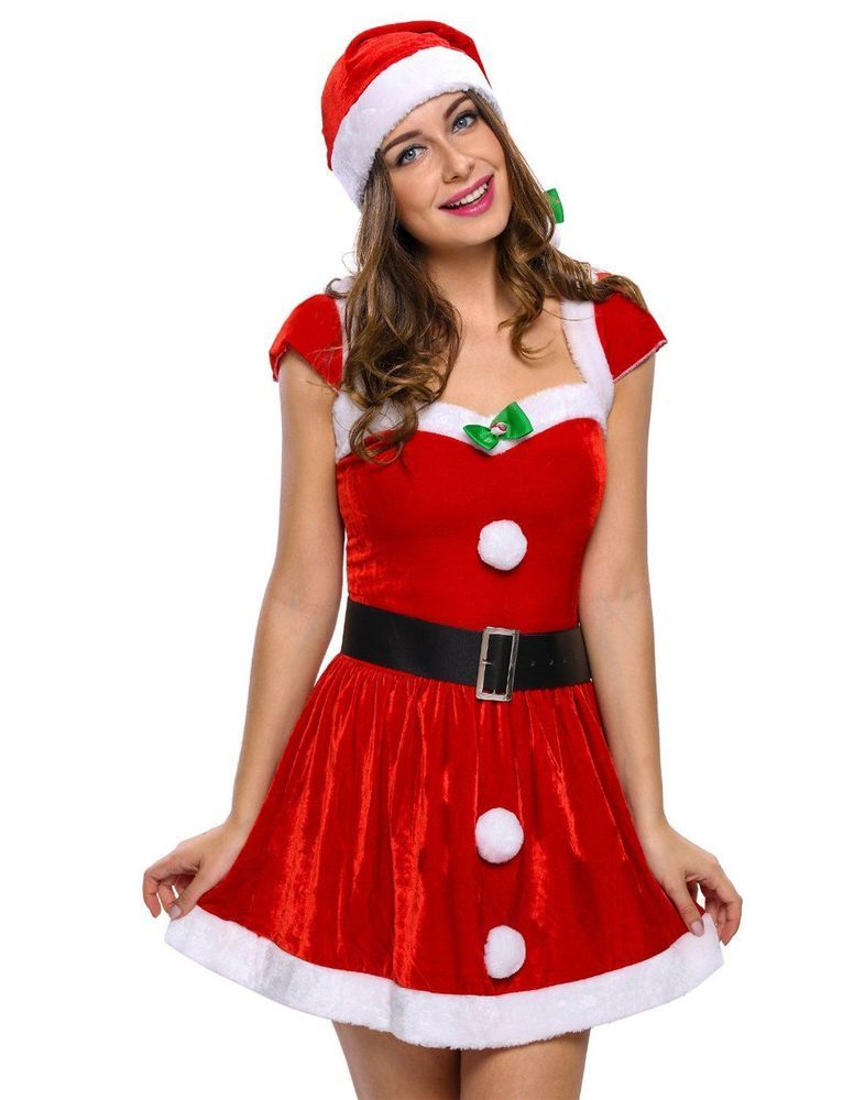 f6c9fc7e73308 Womens Christmas Costume Sexy Hat Mrs Santa Claus Dress Up Cosplay ...