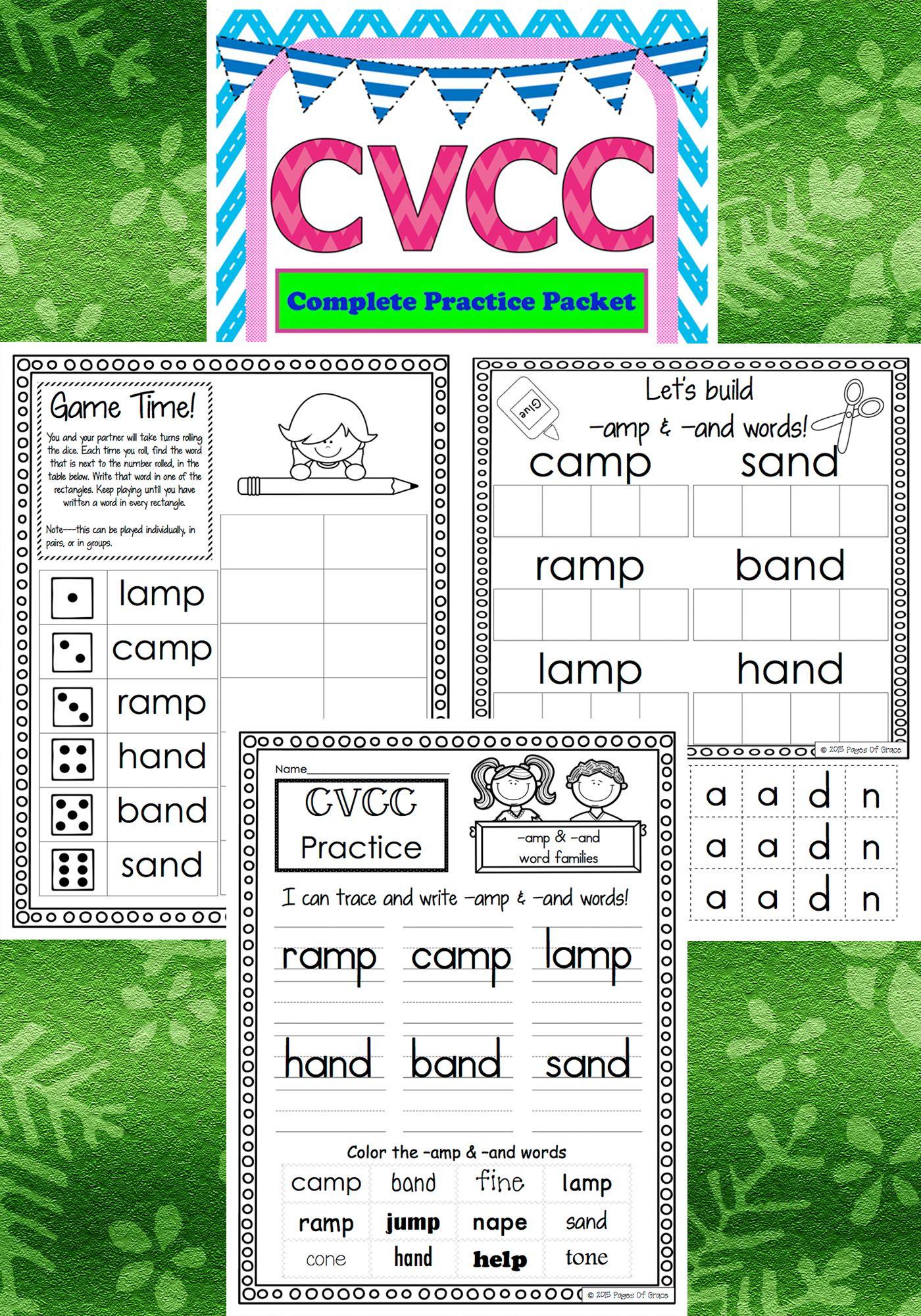 Cvcc Word Work Activity Packet No Prep Phonics Worksheets