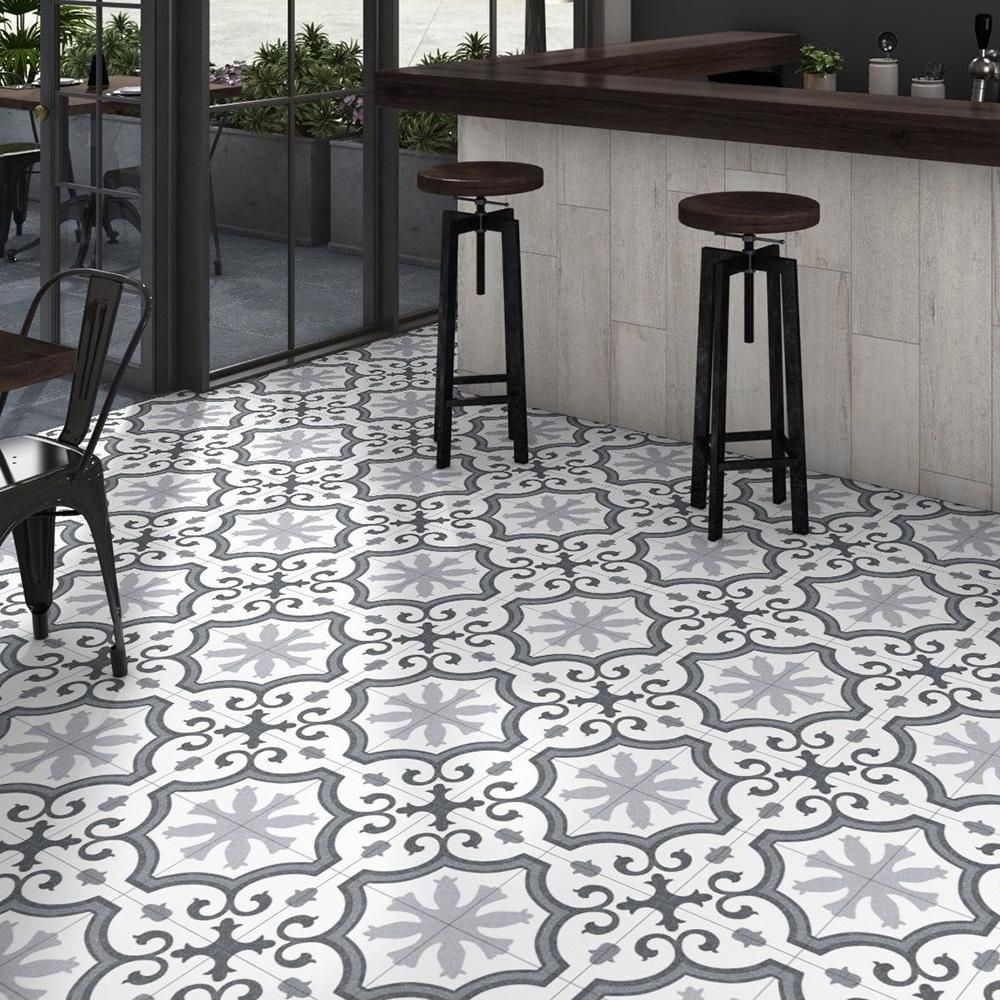 Merola Tile Lacour Grey Encaustic 9 3 4 In X 9 3 4 In Porcelain Floor And Wall Tile 11 11 Sq Ft Case Fcd10lag Tiles Porcelain Flooring Flooring