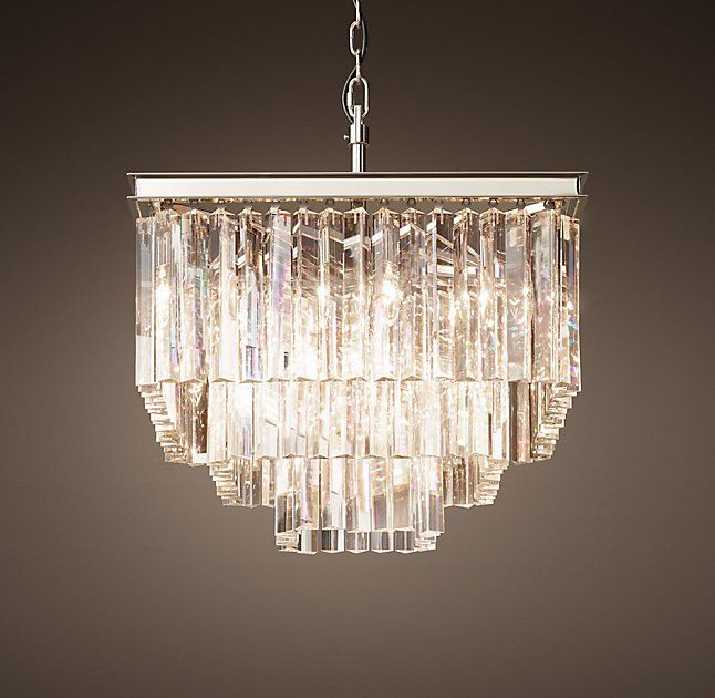 1920S Odeon Clear Glass Fringe Square 7 Tier Chandelier