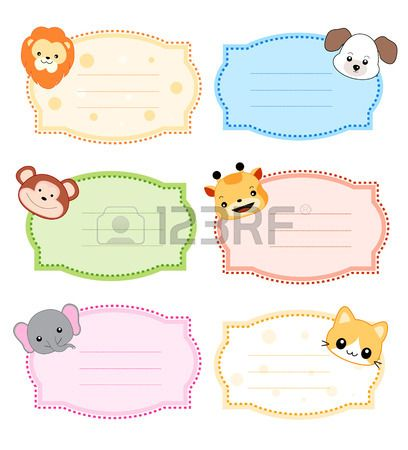 Colorful Kids Name Tags Labels With Cute Animal Faces On Corners Nametags For Kids Name Tags Quilt Labels