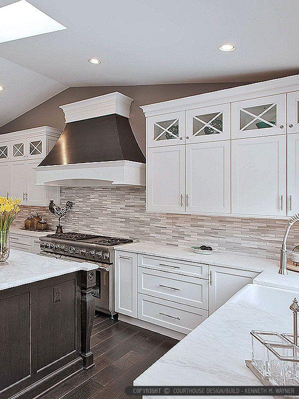Modern White Gray Subway Marble Backsplash Tile Simple Kitchen