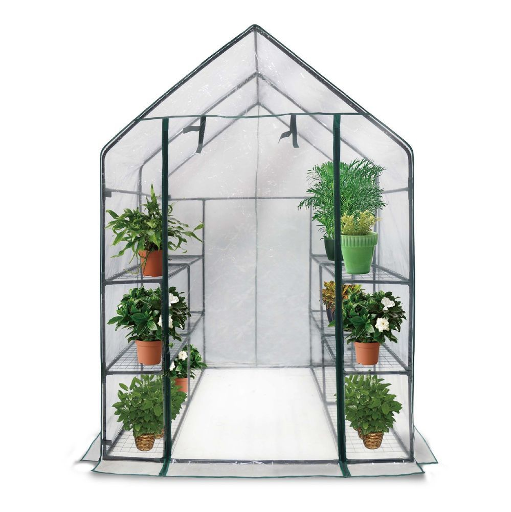 Details About Sontax Large Walk In Greenhouse With Clear Cover 12 Shelves Stands 3 Tiers Racks Walk In Greenhouse Diy Greenhouse Greenhouse