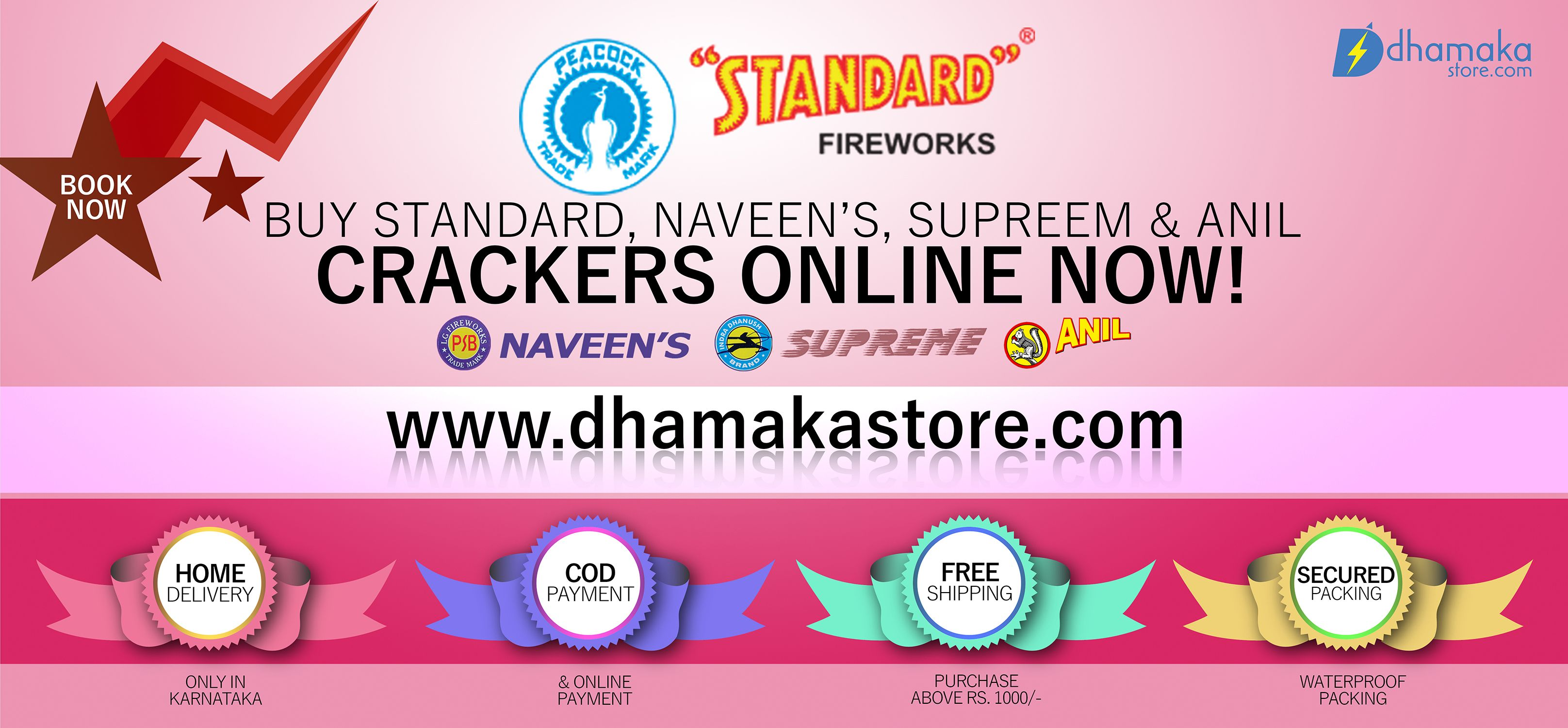 Enjoy diwali with all branded colourful crackers like standard, anil, supreem, naveen crackers online at Dhamakastore.com. Visit us : goo.gl/YDlh3F