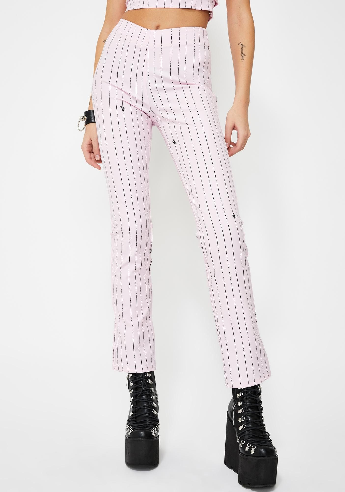 I AM GIA Pink Dominique Pinstripe Pants Dolls Kill in