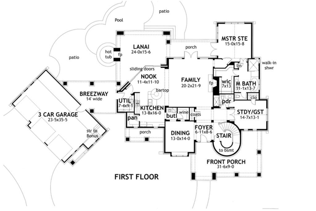 Craftsman Style House Plan 4 Beds 4 Baths 3349 Sq Ft Plan 120 173 Country Style House Plans Tuscan House Plans Family House Plans