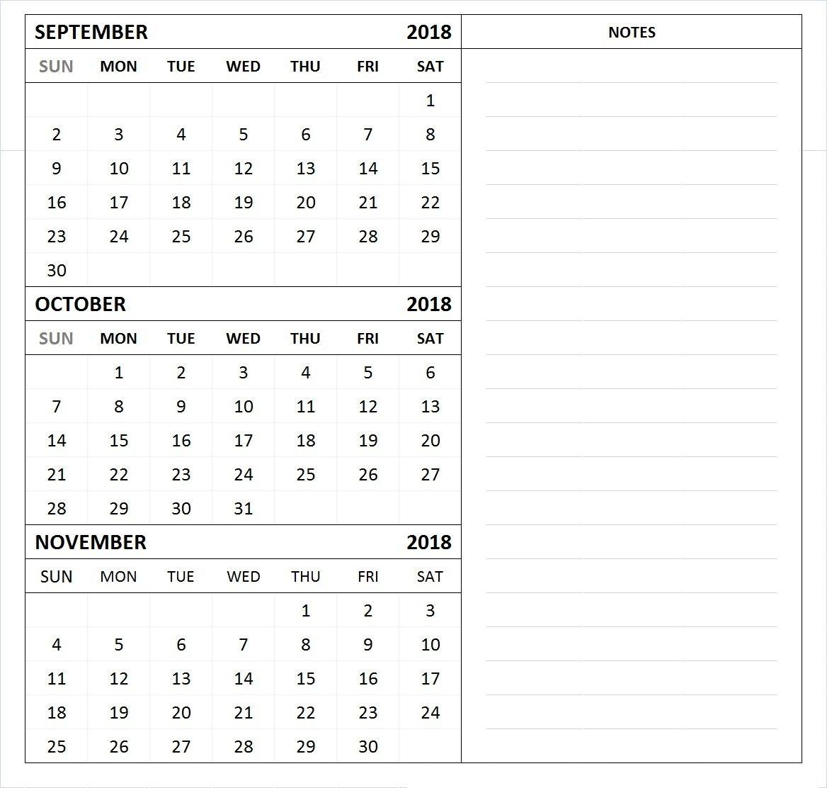 September October November 2018 Calendar Free Printable 2018