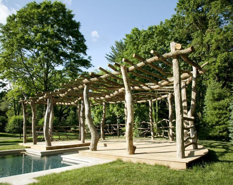 Outdoorküche Deko Uñas : Rustic arbor laubeaus alten stämmen garten garden outside