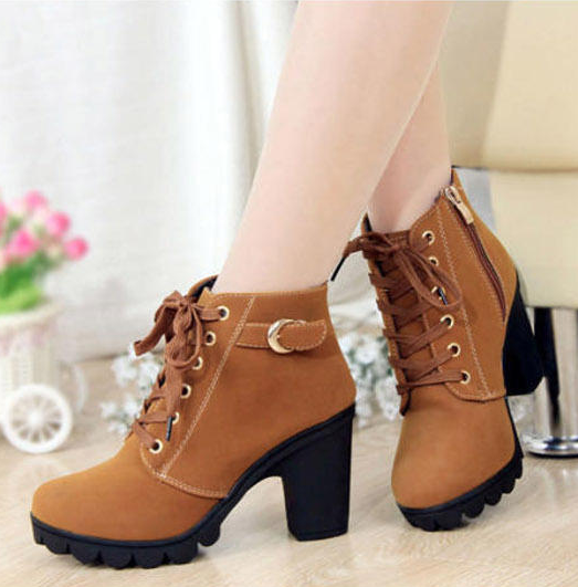 Women's Classic Low Chunky Heels Lace Up Ankle Martin Boots Short Booties