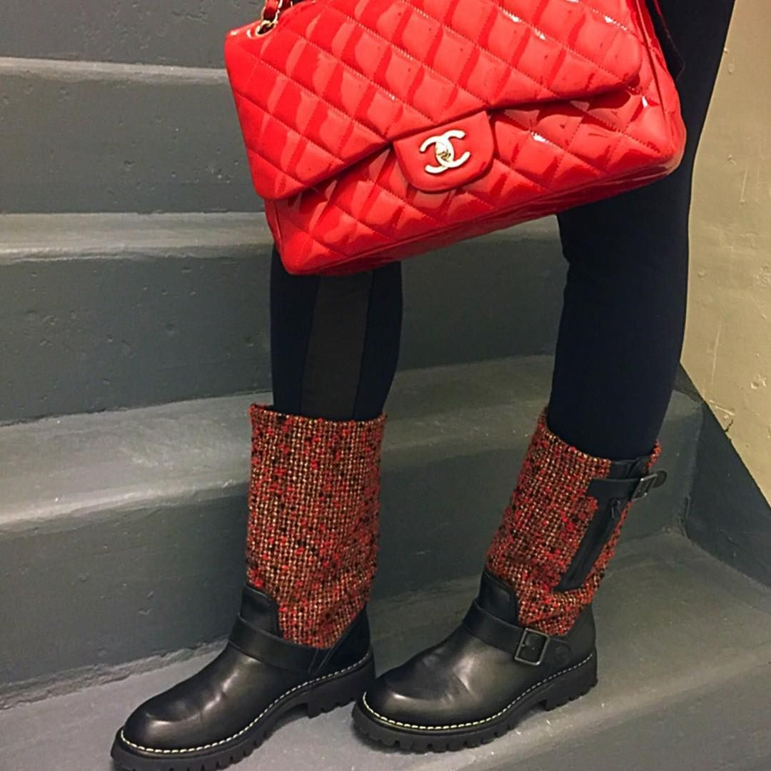 """""""Upclose #chaneltweed boots ❤️ Have a wonderful Sunday my friends """""""