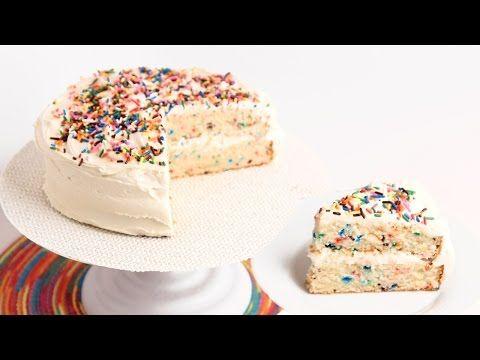 Confetti Birthday Cake Recipe Laura In The Kitchen Internet Cooking Show Starring Laura Vitale Tortas Pastel De Vainilla Pasteles