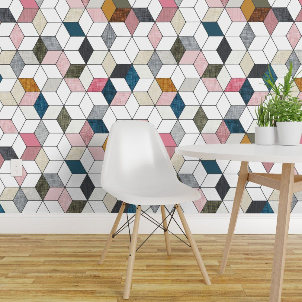 Peel And Stick Removable Wallpaper Geometric Hexagon Colorful Cubes Diamond Cube Walmart Com In 2021 Removable Wallpaper Geometric Wallpaper Quick Decor