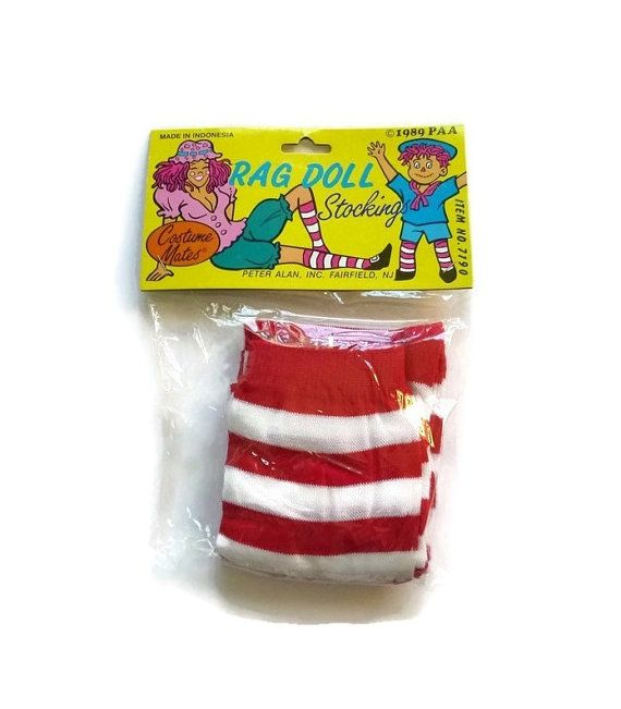 Vintage STRIPED Red & White Socks 80's Stockings Knee Highs Halloween Rag Doll Raggedy Ann Costume Witch Hosiery 1980s New Old Stock Cosplay