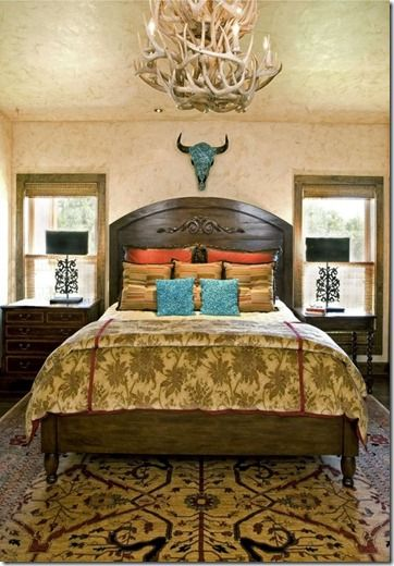 Beautiful Gold Orange And Turquoise Western Guest Bedroom Stylish Western Home Decorating