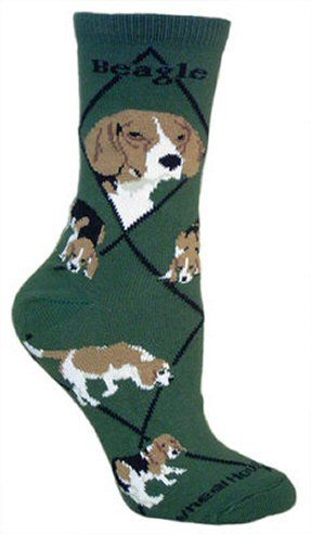 Beagle Socks In Green Uk Size 7 5 To 11 5 Animal Gift Ideas