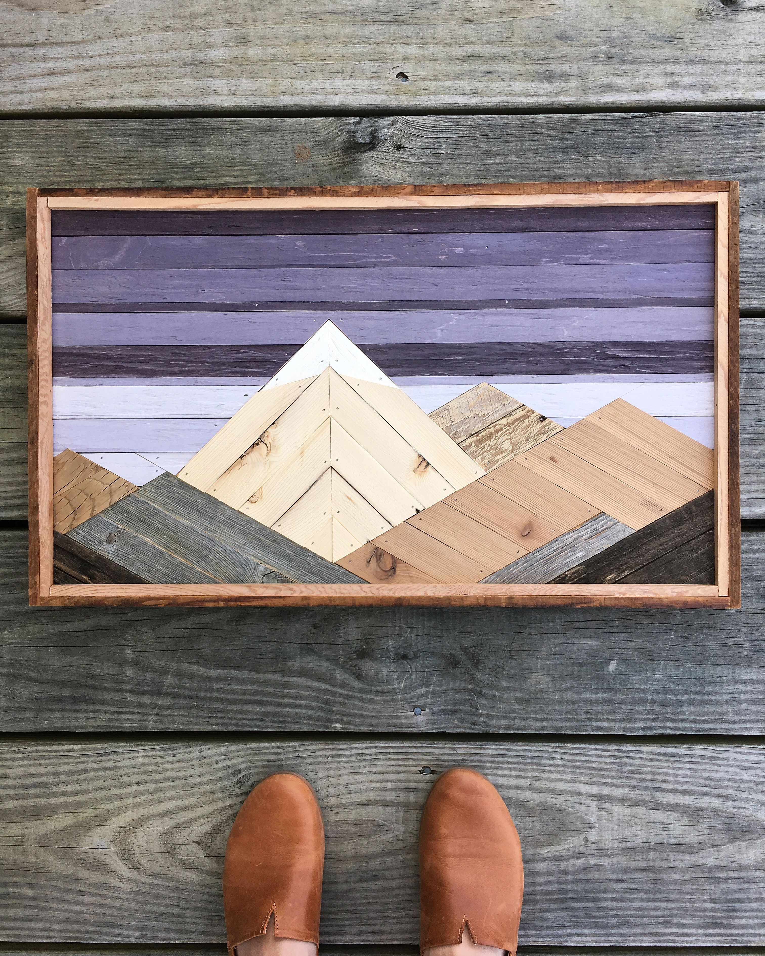 Reclaimed wood mountain art scrap wood art mountain