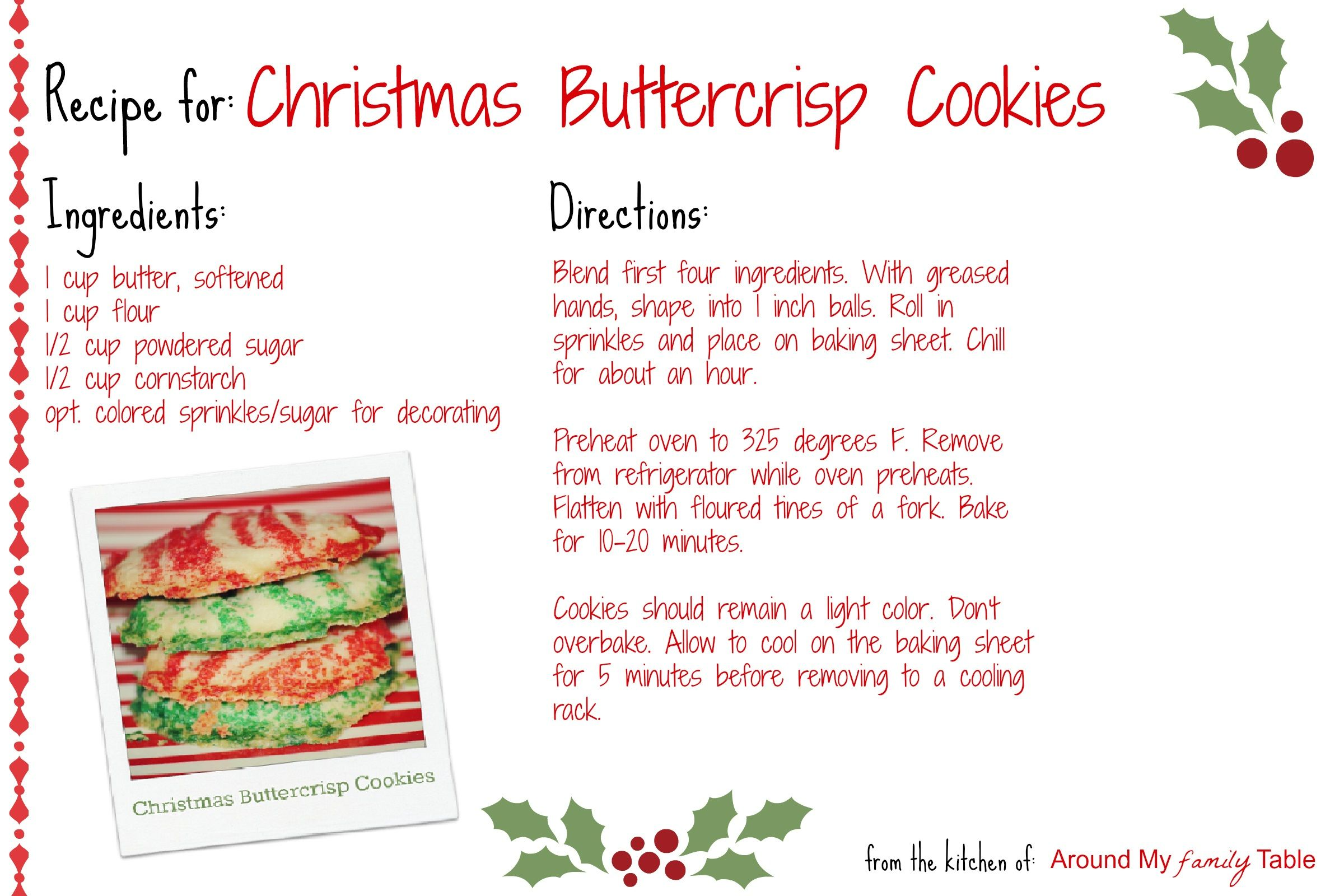 Christmas Buttercrisp Cookies Recipe Card. ☀CQ #christmas ...