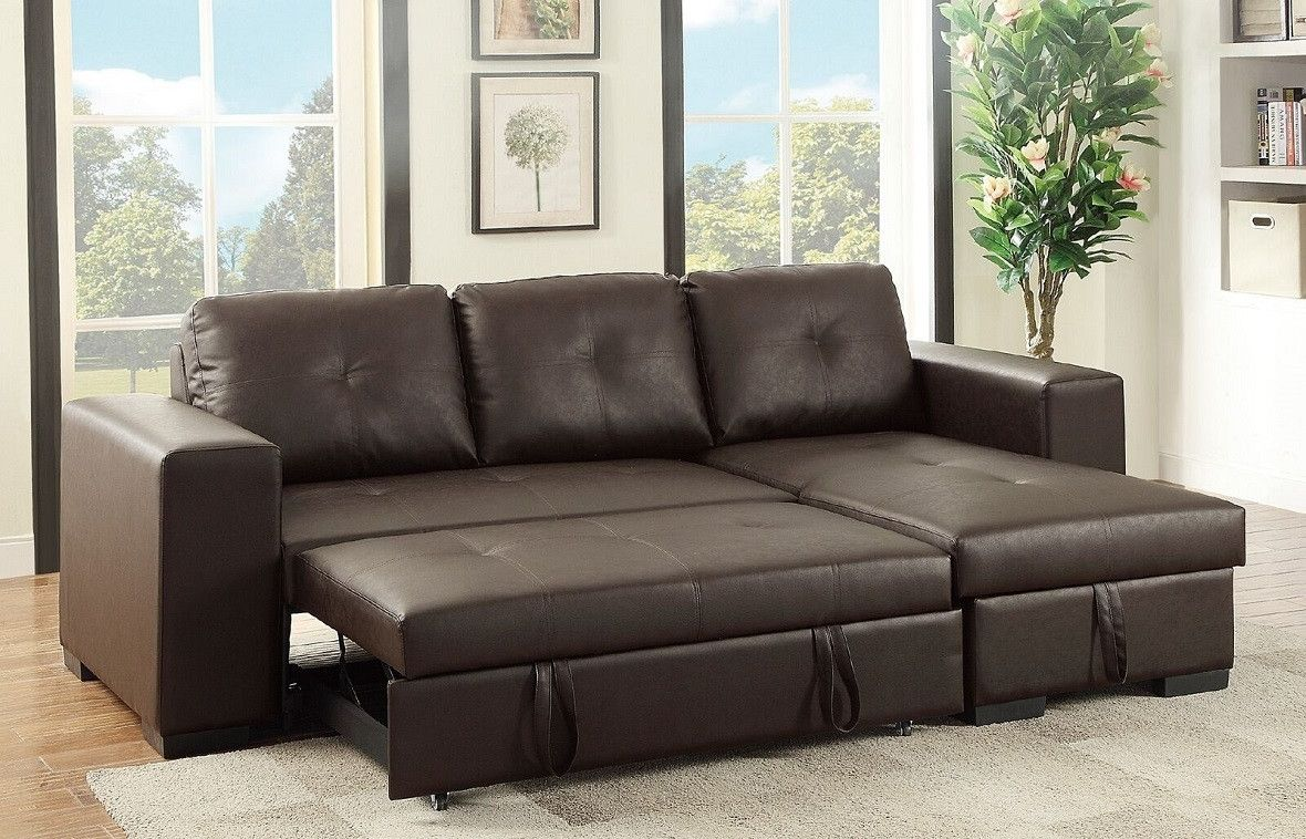Buchannan Faux Leather Sectional Sofa With Reversible Chaise The
