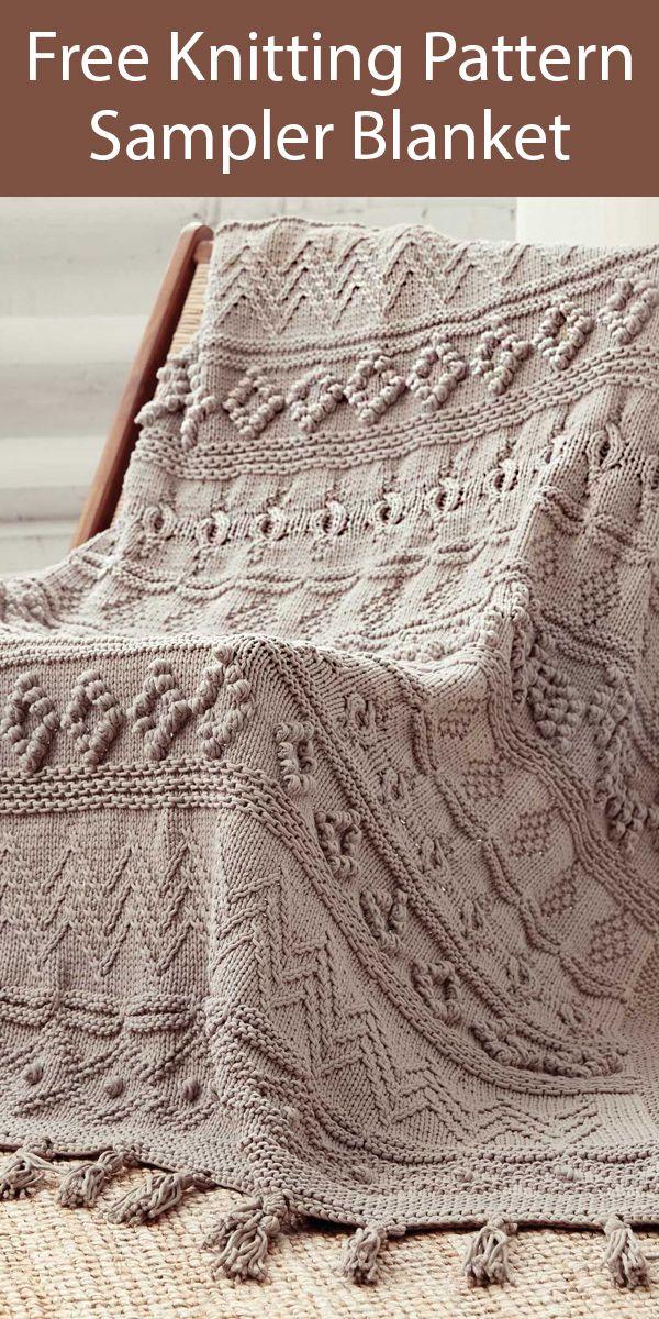 Free Knitting Pattern for Sampler Blanket in Bulky