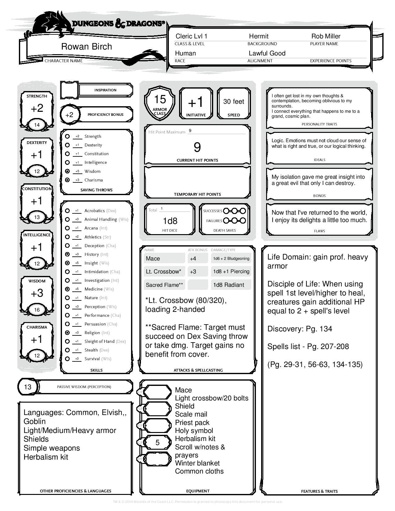 barbarian character sheet human cleric (/) d&de completed character sheet. created