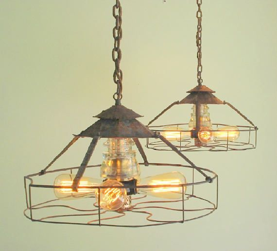 Original rare pair of vintage industrial pendant light chandeliers perfect for your kitchen island or dining table