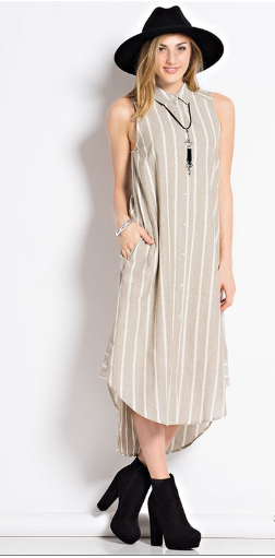 beac024dd6a7 Sleeveless Striped Button Down Midi Dress