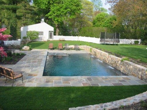 pool landscaping rectangular