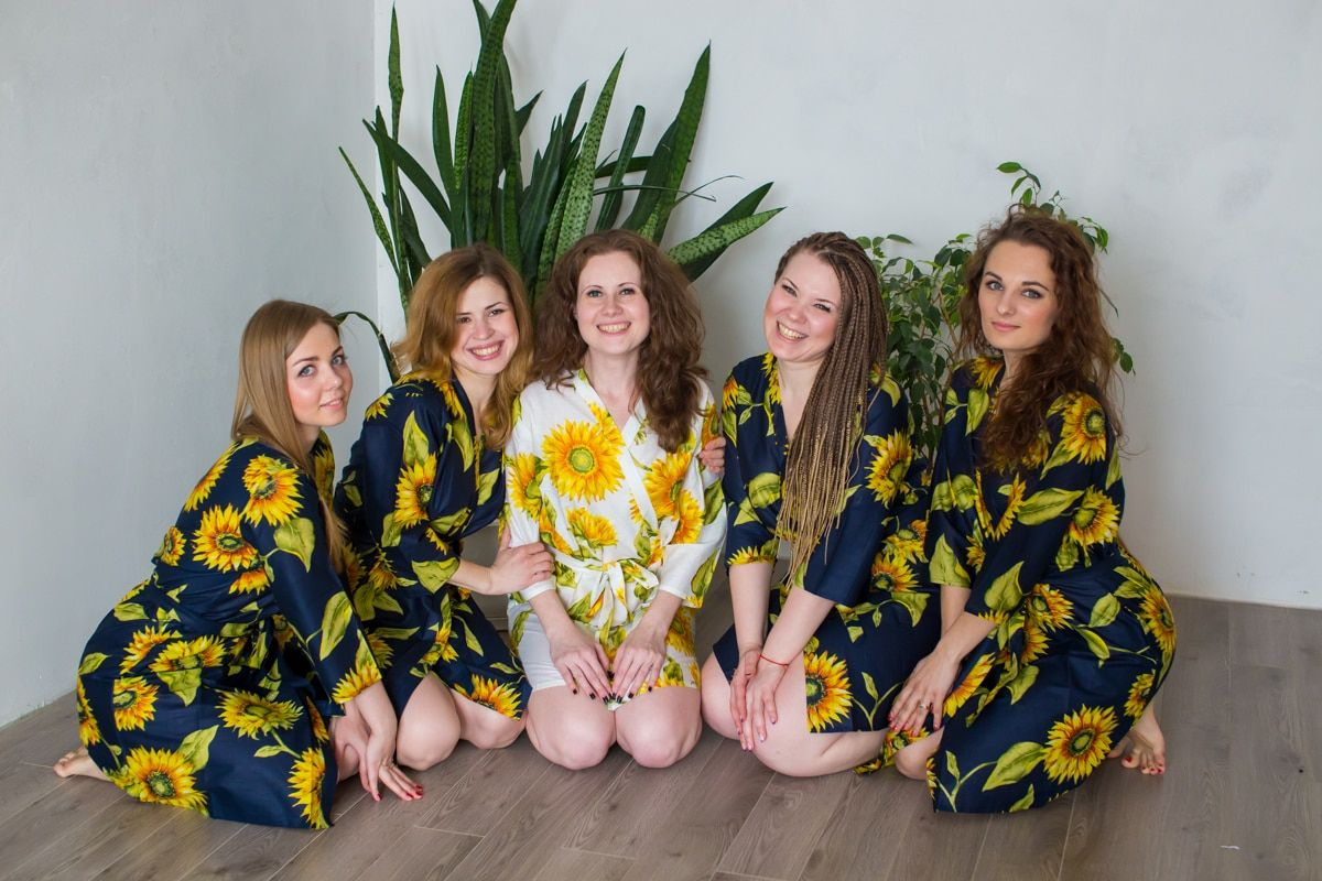 Dark Blue Sunflower Robes for bridesmaids  083b7d101
