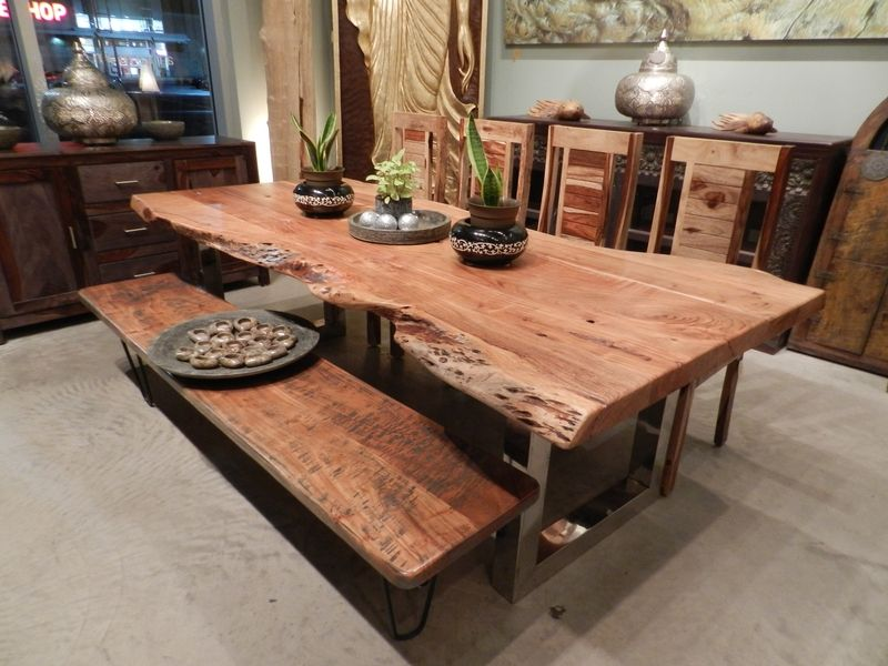 Incroyable Freeform Dining Table In Acacia Wood With Chrome Legs