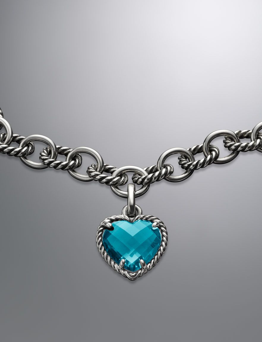 Cable heart pendant blue topaz 16mm amazing jewelry